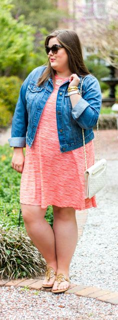 Striped Swing Dress perfect for spring + denim jacket only $32