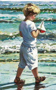 The Red Toy Boat [Sherree Valentine Daines-A713] - $500.00 painting by oilpaintingsartmaker.com