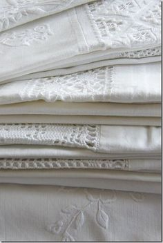 Gorgeous antique c1900 white linens, wonderful to collect. www.Vintageblessings.com