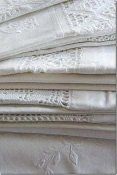 Gorgeous antique c1900 white linens, wonderful to collect. www.Vintageblessings.com