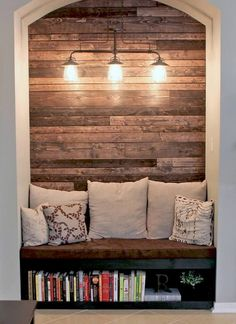 Romantically Illuminated Recessed Wood Wall