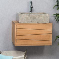 Choisissez ce meuble teck salle de bain suspendu pour créer un espace de…