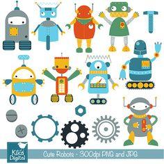 INSTANT DOWNLOAD Cute Robots Digital Clipart - Scrapbooking , card design, invitations, stickers, paper crafts, web design