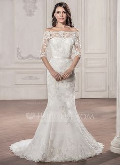Trumpet/Mermaid Off-the-Shoulder Court Train Zipper Up Covered Button Sleeves 1/2 Sleeves Church General Plus No Spring Summer Fall Ivory Lace Wedding Dress