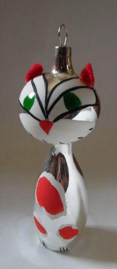 Vintage Czechoslovakia Glass Polka Dot Ornament Cat | eBay