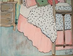 original painting of antique bedroom set by mercersdaughter, $18.00