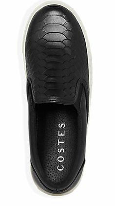 Slip-on Sneaker Leer Zwart - Costes Fashion