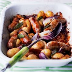 This sausage and potato bake recipe makes the easiest one-pan dish – you pop in the oven and forget about until it's ready. And it's a cheap meal to make, too.