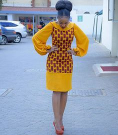 African print Midi dress with balloon sleeves/Ankara/African Clothing/African Fashion/Ankara Clothing/Kente African Fashion Designers, African Fashion Ankara, Ghanaian Fashion, African Inspired Fashion, Latest African Fashion Dresses, African Dresses For Women, African Print Dresses, African Print Fashion, African Attire