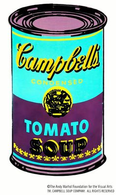Andy Warhol - Tomato Soup Can - 1962.  Andy Warhol claimed that the Campbell's Soup Can was his favourite work and that he should've just done the Campbell's Soup Can and kept on doing them because everybody else only does one painting anyway.  Andy did Campbell's soup because he uses to drink it and he used to have the same lunch every day, for twenty years.