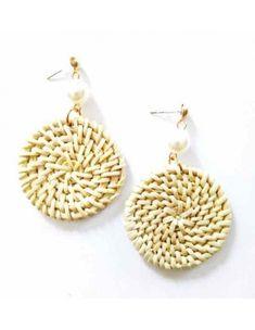 Fashion Femmes bambou rotin tressés Géométrique Goutte D/'eau En Forme De Dangle Earrings