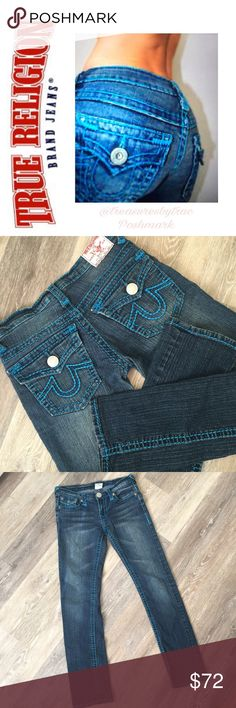 "TRUE RELIGION BLUE STITCH JOEY BOOT CUT JEANS Love the blue stitching detail on these boot cut Joey's from True Religion. They are in excellent condition with no signs of wear. Size 29: 30"" waist, 30"" inseam, 39"" length. 100% cotton. No trades and a smoke free home. Thanks for stopping by! 💕🌻💕 True Religion Jeans Boot Cut"