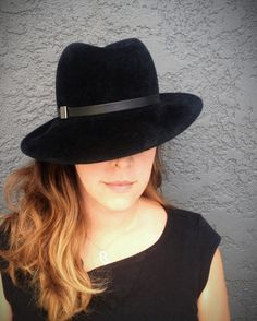 6a371311875 Items similar to Black on Black Fur Felt Women s Fedora   Classy and  Stylish Handmade Wide Brim Woman s Fall Hat on Etsy
