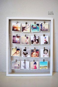 Outra forma de expor fotos: quadro pequeno, para mesas e espacinhos. Foto: Reprodução / Little Inspiration