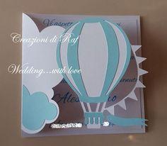 Biglietto di auguri per nascita, tema mongolfiera