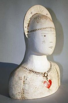 St. Valentine handmade ceramic sculpture with hearts by jolucksted by lottie