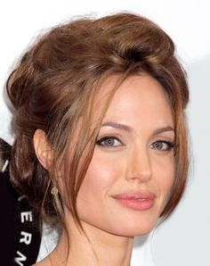 Angelina Jolie messy updo for square face