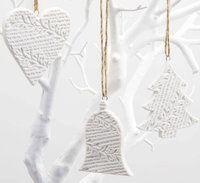 ceramic embossed bell heart tree christmas decoration