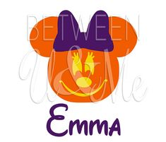 Personalized Minnie Mouse Pumpkin Jack O Lantern Halloween Disney Iron On Decal Vinyl for Shirt on Etsy, $6.99