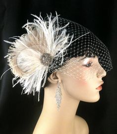 New Rock On  - Bridal Feather Fascinator, Bridal Headpiece, Wedding Veil, Wedding Fascinator, Feather Fascinator