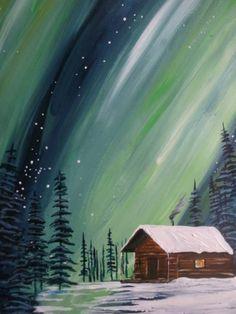 Aurore boréale =peinture Painting Snow, Winter Painting, Winter Art, Diy Painting, Easy Landscape Paintings, Colorful Paintings, Cool Paintings, Cool Artwork, Acrylic Painting Lessons