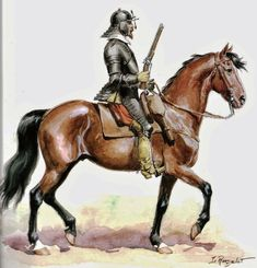 Cuirassier 17th Century British Soldier, British Army, Historical Illustrations, Thirty Years' War, Types Of Armor, Modern Warfare, 30 Years, Military History, Middle Ages