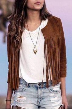 Stylish Round Neck 3/4 Sleeve Solid Color Fringe Women's Jacket