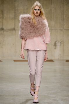 FALL/WINTER 2013-2014  Topshop Unique - work different shades of blush and baby pink with varying textures.