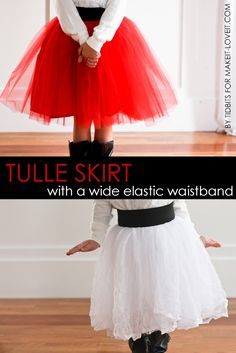 DIY Tulle Skirt with Wide Elastic Waist Band.....a great holiday skirt! | via…