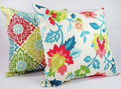 Two Coral and Teal Coral Pillow Covers  20 x by CastawayCoveDecor, $32.00. Pretty!!