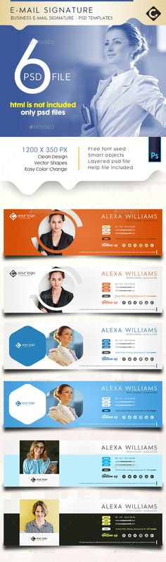 Buy E-Mail Signature by PShalive on GraphicRiver. Business E-mail Signature PSD Templates. HTML is not included, Only PSD Files Size: Easy Customization Lay. Email Template Design, Email Design, Psd Templates, Web Design, Graphic Design, Email Signature Templates, Email Signatures, Vector Shapes, Sympathy Cards