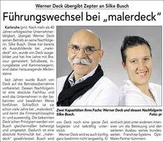 """Heute in DER KURIER Karlsruhe: Führungswechsel bei """"malerdeck"""". Werner Deck übergibt Zepter an Silke Busch. :-)"""