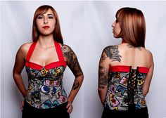 Loteria Print Corset Top by Winter Forest Demoness