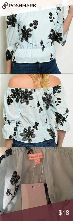 """NWT off shoulder blouse This top is SO cute!! Off shoulder, with beautiful black flowers on a light blue background, and a cinched waist. Approx. 40"""" bust. This is a top I purchased here, but I'm normally an XL in tops, so I couldn't get it over my shoulders 😭 I have a 40"""" bust (36D), about 5'5"""" and 170lbs. This might be better fitting on a small L, or larger M. SO bummed it doesn't fit me! Get it quick! Solaris Style Tops Blouses"""