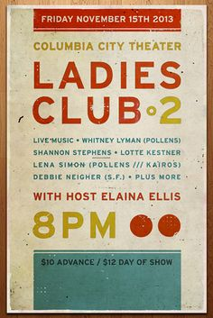 for Young Moderns Columbia City, Ladies Club, Live Music, Theater, Seattle, Posters, Band, Modern, Design