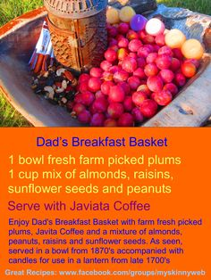 Enjoy Dad's Breakfast Nook Snack with fresh picked garden plums, Javita Coffee and a mixture of almonds, peanuts, raisins and sunflower seeds. As seen, served in a bowl from accompanied with candles for use in a lantern from late Breakfast Basket, Breakfast Nook, Sunflower Seeds, Raisin, Plum, Snacks, Fresh, Almonds, Coffee