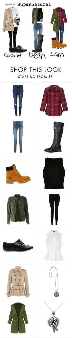 """""""Inspired by: Supernatural"""" by zoeyfrederick on Polyvore featuring Miss Selfridge, Vitamin, Yves Saint Laurent, Timberland, River Island, Current/Elliott, Ollio, Alexander Wang, Burberry and Jewel Exclusive"""