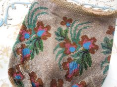 Antique Gorgeous Hand Beaded Bag All Glass Beads by LemonIceBoxPie, $45.50