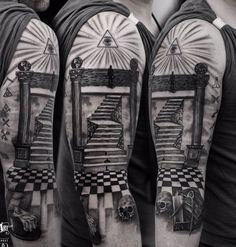 Staircase tattoo by Adam K! Limited availability at Revival Tattoo Studio. Freemason Tattoo, Masonic Tattoos, Masonic Art, Masonic Symbols, Staircase Tattoo, Templar Knight Tattoo, Tattoo Catalog, Biomechanical Tattoo, Eastern Star