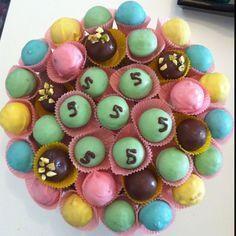 Candy melts, lovely colors, inside red velvet cakepops.