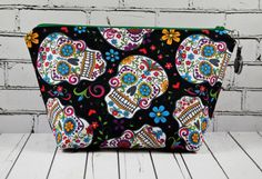 Day of the Dead Make Up Bag Makeup Bag by TheCuriousNeedle on Etsy