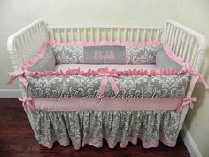 Items similar to Baby Girl Crib Bedding Set Elizabeth - Girl Baby Bedding, Crib Bumpers, Gray Damask with Light Pink on Etsy Princess Crib Bedding, Baby Girl Bedding Sets, Girl Crib Bedding Sets, Baby Boy Cribs, Girl Cribs, Quilt Set, Baby Room Decor, Beauty, Gray Crib