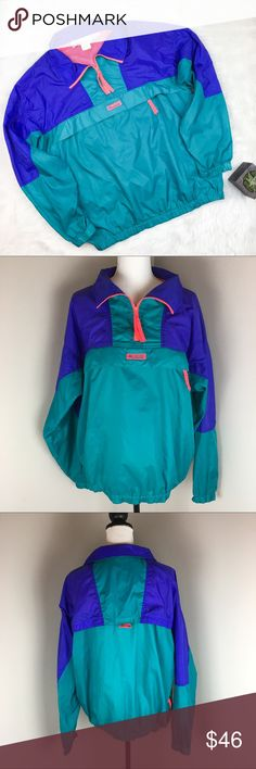 1990's Vintage Columbia Windbreaker Pullover 1990's Vintage Columbia windbreaker pullover. Size men's large. Approximate measurements flat laid are 26' long, 22' sleeve, and 24' bust. Can fit oversized women's medium and large. In AMAZING condition. No major flaws or stains. All zippers work including the huge front pick and side pockets. It does have the vent in the back as well. This is a jem! The pictures do not do the color justice! ❌No trades ❌ Modeling ❌No PayPal or off Posh…