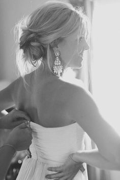 Statement earrings, an updo and a strapless dress - a winning combination Source: Heather Hawking Photography #statementearrings #weddingjewelry