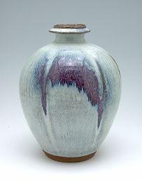 Lobed vase by Kawai Kanjiro, redish buff stoneware with variegated light blue and purple glaze, second quarter of 20th century.