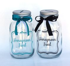 This Honeymoon Fund jar is the perfect way to save for your upcoming honeymoon! Or it can help collect money for the bride and groom to be as a