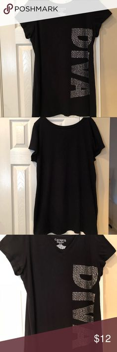 """Graphic Sleep Shirt Black sleep shirt with the words """"DIVA"""" in silver bling down the side. Made of 100% Cotton. In good used condition. Cacique Intimates & Sleepwear"""