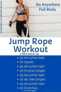 Jump Rope Workout For Runners -Jump it out with this full body do anywhere jump rope workout #JumpRope #Workout #Doanywhere #FullBody #AtHomeWorkout Hiit Workout At Home, Hard Workout, Workout Videos, At Home Workouts, Workout Routines, Cardio Workout Plan, Jump Workout, Speed Workout, Gym Workouts