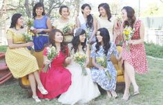 LOVE these mismatched vintage bridesmaids dresses! // photo by ChristianCruzPhotography.com