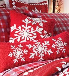hooked-wool-holiday-snowflake-pillows ... LOOOOVE these pillows from  Plow and Hearth